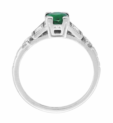 Emerald and Diamond Art Deco Engagement Ring in 18 Karat White Gold - Item R155 - Image 4