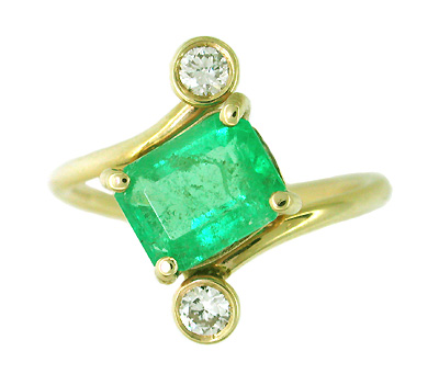 Emerald and Diamond Ring in 14 Karat Gold
