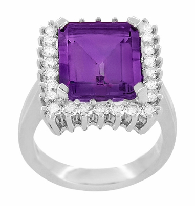 Retro Amethyst Cocktail Ring with Diamonds in 18 Karat White Gold - Item R1176WAM - Image 2