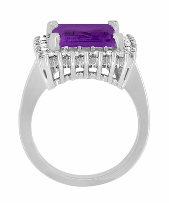 Retro Amethyst Cocktail Ring with Diamonds in 18 Karat White Gold - Item R1176WAM - Image 4