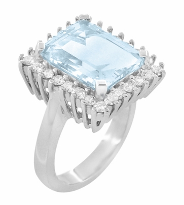 Emerald Cut Aquamarine Ballerina Ring with Diamonds in 18 Karat White Gold - Item R1176WA - Image 1