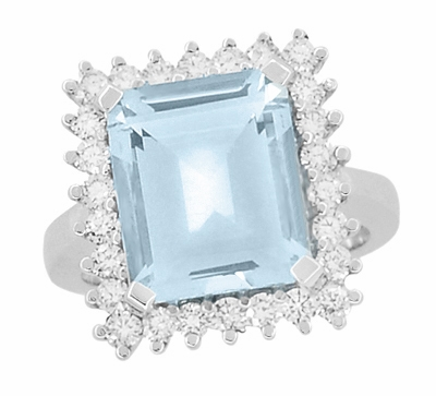 Emerald Cut Aquamarine Ballerina Ring with Diamonds in 18 Karat White Gold - Item R1176WA - Image 3