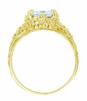Emerald Cut Aquamarine Edwardian Filigree Engagement Ring in 14 Karat Yellow Gold - Item R618Y - Image 3