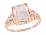 Emerald Cut Morganite Edwardian Engagement Ring in 14 Karat Rose Gold | Filigree Pink Gold Heirloom