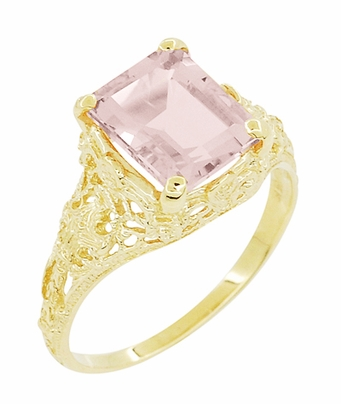 Emerald Cut Morganite Filigree Edwardian Engagement Ring in 14 Karat Yellow Gold - Item R618YM - Image 1