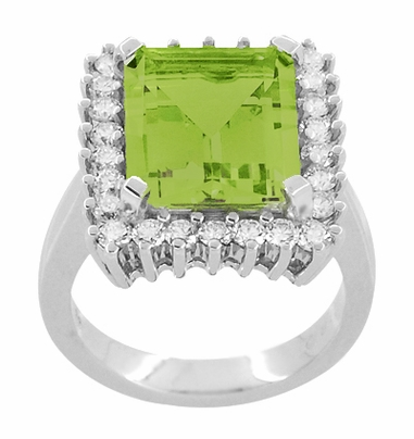 Emerald Cut Peridot Ballerina Ring with Diamonds in 18 Karat White Gold - Item R1176WPER - Image 2