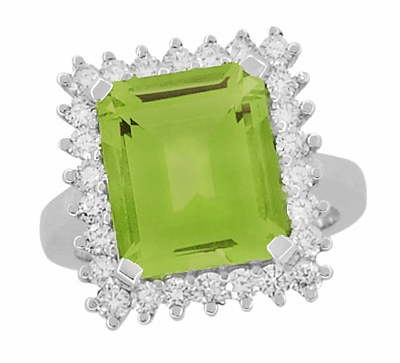 Emerald Cut Peridot Ballerina Ring with Diamonds in 18 Karat White Gold - Item R1176WPER - Image 3