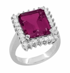 Emerald Cut Rubellite Tourmaline Ballerina Ring with Diamonds in 18 Karat White Gold