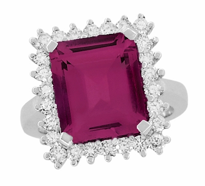 Emerald Cut Rubellite Tourmaline Ballerina Ring with Diamonds in 18 Karat White Gold - Item R1176WRG - Image 3
