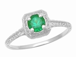 Emerald  Scrolls Engraved Filigree Engagement Ring in 14 Karat White Gold