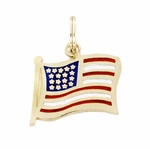 Enameled American Flag Charm Pendant in 14K Gold