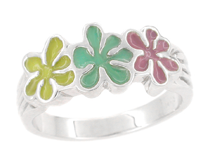 1960's Mod Enameled Flowers Ring in 14K White Gold