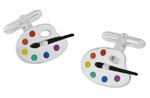 Enameled Paint Palette and Brush Painters Cufflinks in Sterling Silver | Artist Cuff Links