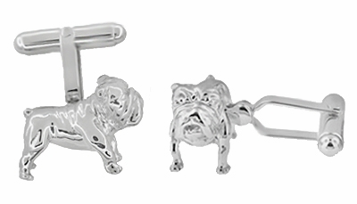 English Bulldog Cufflinks in Sterling Silver - Item SCL199 - Image 1