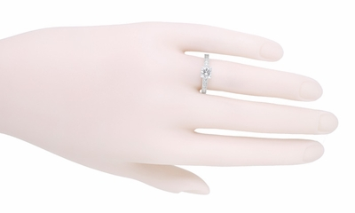 Engraved Art Deco Diamond Engagement Ring in 18 Karat White Gold - Item R408WD - Image 4