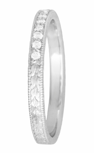 Art Deco Diamond Wheat Engraved Wedding Band in Platinum - Click to enlarge