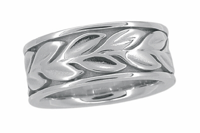 Engraved Eternal Leaves Heavy 8mm Wide Wedding Band - Size 5 - 14K White Gold - Item R805 - Image 1