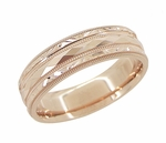 Engraved Kaleidoscope and Chevrons Wedding Band in 14 Karat Rose Gold