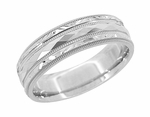 Kaleidoscope and Chevrons Retro Engraved Wedding Band in 14 Karat White Gold
