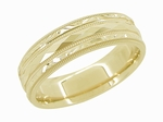 Engraved Kaleidoscope and Chevrons Antique Retro Design Wedding Band in 14 Karat Yellow Gold