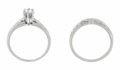 Engraved Scrolls Art Deco Diamond Engagement Ring and Wedding Ring Set in Platinum - Item R670P - Image 2