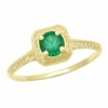 Engraved Scrolls Filigree Emerald Engagement Ring in 14 Karat Yellow Gold