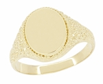 Engraved Scrolls Oval Victorian Signet Ring in 14 Karat Yellow Gold | Large Engravable Mans Ring