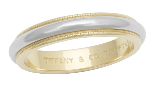 Tiffany Amp Co 375mm Milgrain Wedding Band Platinum Amp 18K Yellow Gold