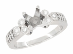 Eternal Stars 1 Carat Diamond Engraved Fleur De Lis Engagement Ring Mounting in 14 Karat White Gold