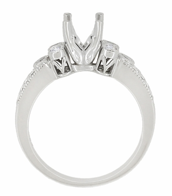 Eternal Stars 1 Carat Diamond Engraved Fleur De Lis Engagement Ring Mounting in 14 Karat White Gold - Item R8411R - Image 4