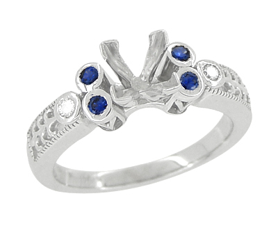 Eternal Stars 1 Carat Princess Cut Diamond and Sapphire Engraved Fleur De Lis Engagement Ring Mounting in 14 Karat White Gold