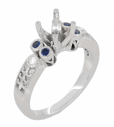 Eternal Stars 1 Carat Side Sapphires and Diamonds Engraved Fleur De Lis Engagement Ring Mounting in 14 Karat White Gold for a 6mm to 6.5mm Stone - Item R8411RS - Image 1