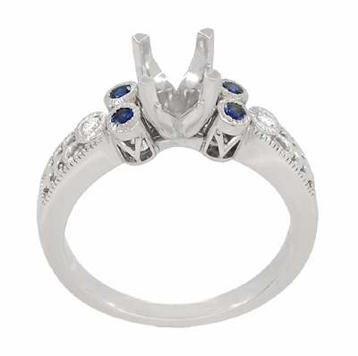 Eternal Stars 1 Carat Side Sapphires and Diamonds Engraved Fleur De Lis Engagement Ring Mounting in 14 Karat White Gold for a 6mm to 6.5mm Stone - Item R8411RS - Image 3