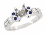 Eternal Stars 3/4 Carat Diamond and Sapphire Engraved Fleur De Lis Engagement Ring Mounting in 14K White Gold | 5.5mm