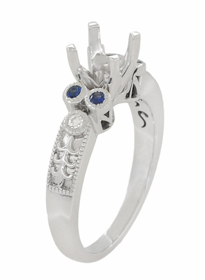 Eternal Stars 3/4 Carat Diamond and Sapphire Engraved Fleur De Lis Engagement Ring Mounting in 14K White Gold | 5.5mm - Item R841RS - Image 2