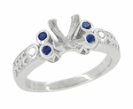 Eternal Stars Sapphire Side Stones Engraved Fleur De Lis Engagement Ring Mounting for a 3/4 Carat Princess Cut Diamond 14K White Gold