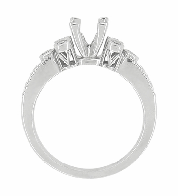 Eternal Stars 3/4 Carat Princess Cut Diamond Engraved Fleur De Lis Engagement Ring Mounting in 14 Karat White Gold - Item R841 - Image 6