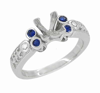 Eternal Stars Sapphire Side Stones Engraved Fleur De Lis Engagement Ring Mounting for a 3/4 Carat Princess Cut Diamond 14K White Gold - Item R841S - Image 1