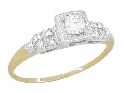 Art Deco Diamond Antique Engagement Ring in 14 Karat White and Yellow Gold | 1930s Heirloom Ethical Diamond Engagement Ring - Item R771 - Image 1
