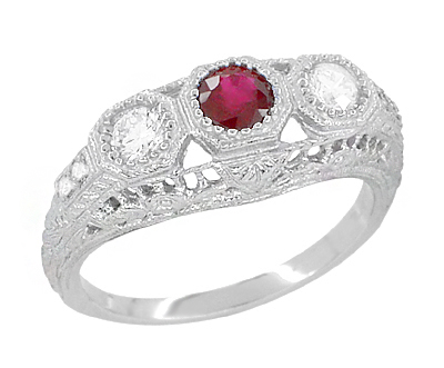 Filigree 3 Stone Ruby and Diamond Edwardian Engagement Ring in 14 Karat White Gold | Vintage Low Profile Three Stone Ring