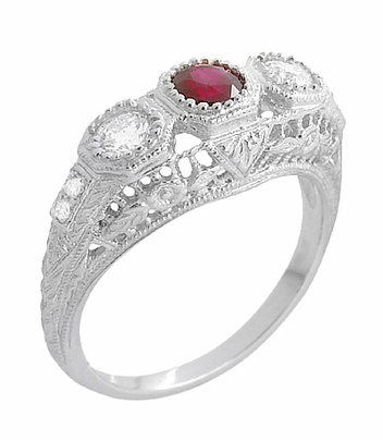 Filigree 3 Stone Ruby and Diamond Edwardian Engagement Ring in 14 Karat White Gold | Vintage Low Profile Three Stone Ring - Item R682WR - Image 1