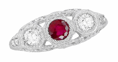 Filigree 3 Stone Ruby and Diamond Edwardian Engagement Ring in 14 Karat White Gold | Vintage Low Profile Three Stone Ring - Item R682WR - Image 4