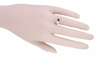 Filigree 3 Stone Ruby and Diamond Edwardian Engagement Ring in 14 Karat White Gold | Vintage Low Profile Three Stone Ring - Item R682WR - Image 5