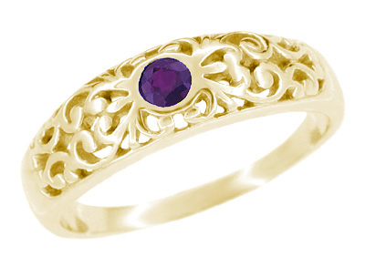 Edwardian Filigree Amethyst Ring in 14 Karat Yellow Gold