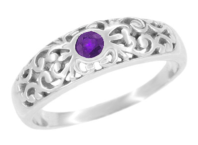 Art Deco Filigree Amethyst Band Ring in Sterling Silver