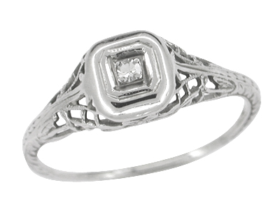 Filigree Antique Engagement Ring in 10 Karat White Gold