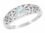 Edwardian Filigree Aquamarine Ring in 14 Karat White Gold