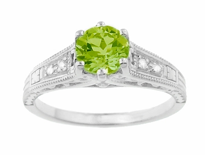 Filigree Art Deco Peridot Engagement Ring in Platinum with Diamonds - Item R158PPER - Image 4