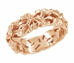 Filigree Calla Lilies Wedding Band in 14 Karat Rose Gold