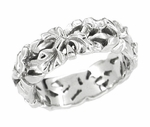 Filigree Calla Lilies Wedding Band in 14 Karat White Gold